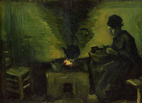 Peasant Woman by the Fireplace - (Vincent van Gogh - 1885)