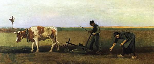 Ploughman with Woman Planting Potatoes - (Vincent van Gogh - 1884)