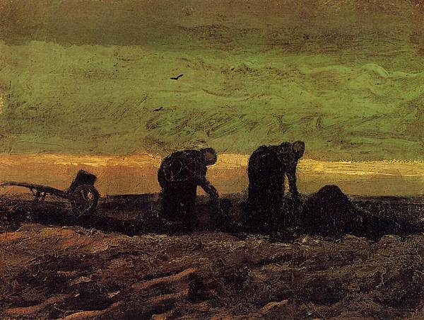 Two Peasant Women in the Peat Fields - (Vincent van Gogh - 1883)