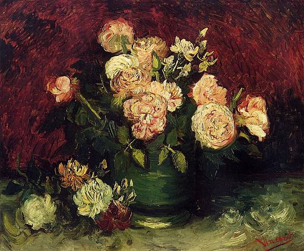 Bowl with Peonies and Roses - (Vincent van Gogh - 1886)