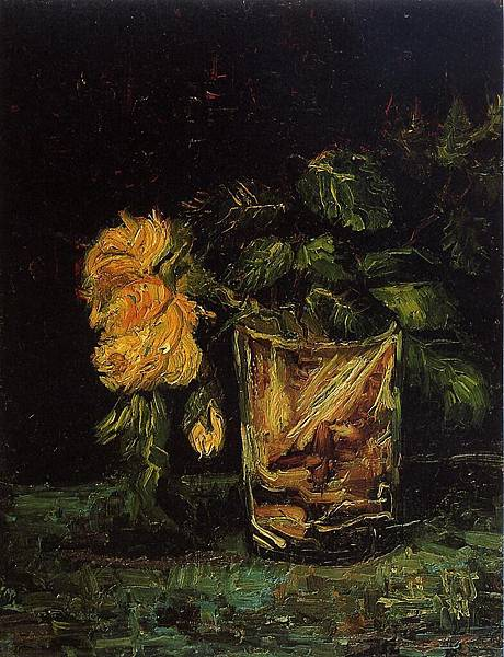 Glass with Roses - (Vincent van Gogh - 1886)