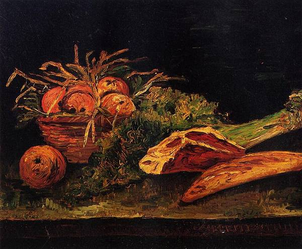 Still Life with Apples, Meat and a Roll - (Vincent van Gogh - 1886)