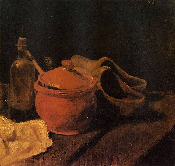 Still Life with Earthenware, Bottle and Clogs - (Vincent van Gogh - 1885)