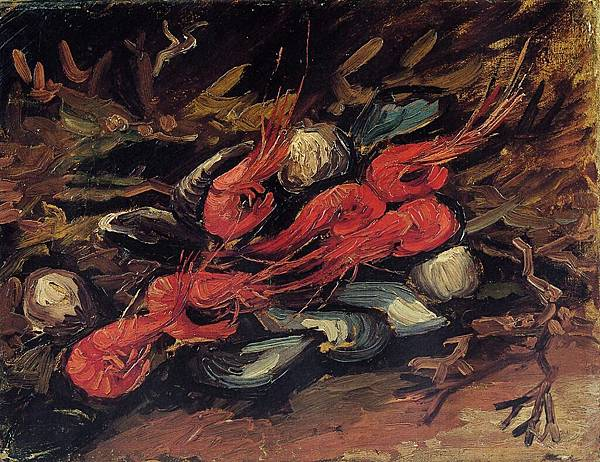 Still Life with Mussels and Shrimp - (Vincent van Gogh - 1886)
