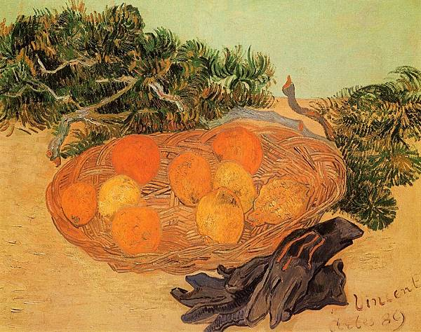 Still Life with Oranges and Lemons with Blue Gloves - (Vincent van Gogh - 1889)