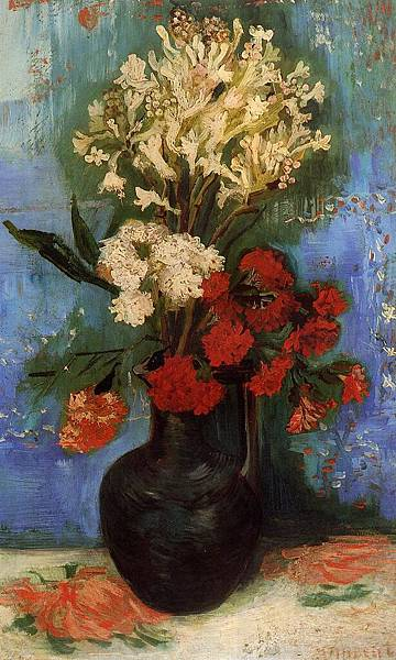 Vase with Carnations and Other Flowers - (Vincent van Gogh - 1886)