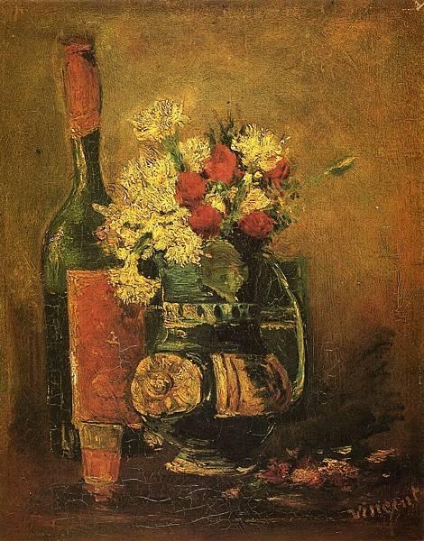 Vase with Carnations and Bottle - (Vincent van Gogh - 1886)