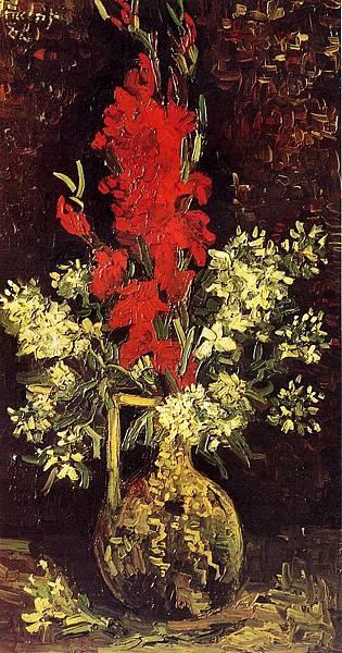 Vase with Gladioli and Carnations - (Vincent van Gogh - 1886)