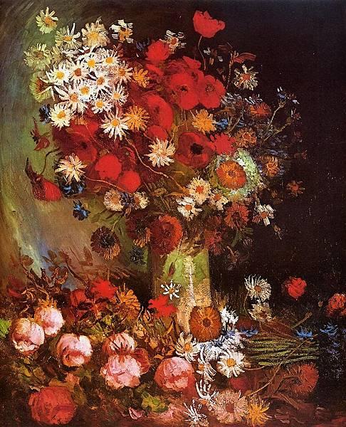 Vase with Poppies, Cornflowers, Peonies and Chrysanthemums - (Vincent van Gogh - 1886)