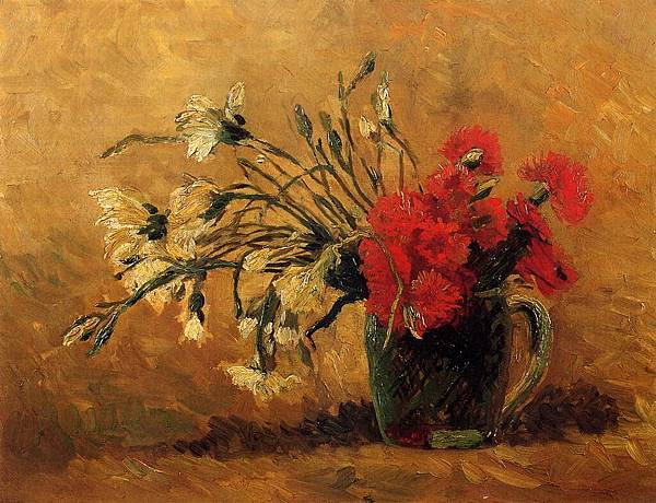Vase with Red and White Carnations on a Yellow Background - (Vincent van Gogh - 1886)
