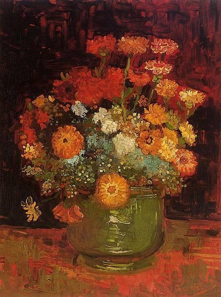 Vase with Zinnias - (Vincent van Gogh - 1886)