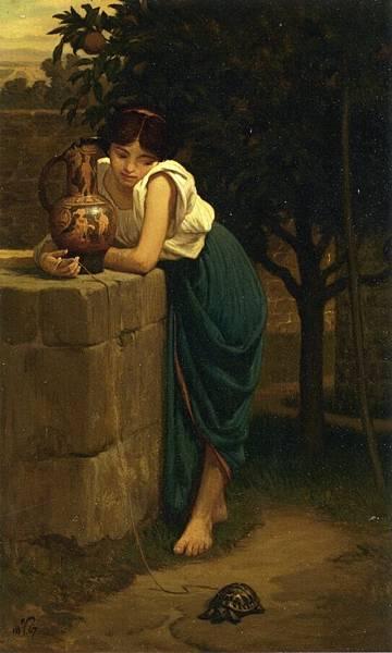 Etruscan Girl with Turtle - (Elihu Vedder - 1867)