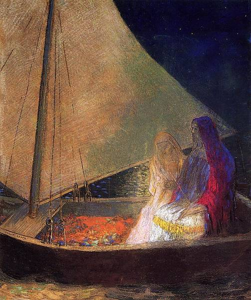 Odilon Redon (1840-1916) Boat with Two Figures - (Odilon Redon - 1902)