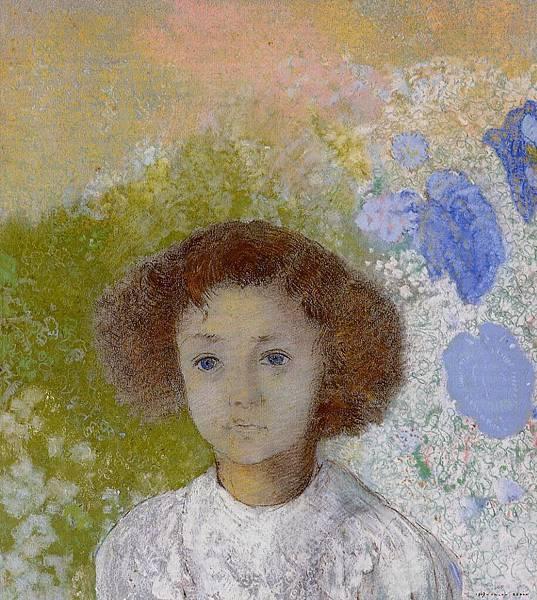 Odilon Redon (1840-1916) Portrait of Genevieve de Gonet as a Child - (Odilon Redon - 1907)