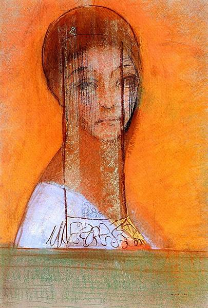 Odilon Redon (1840-1916) Veiled Woman - (Odilon Redon - 1895