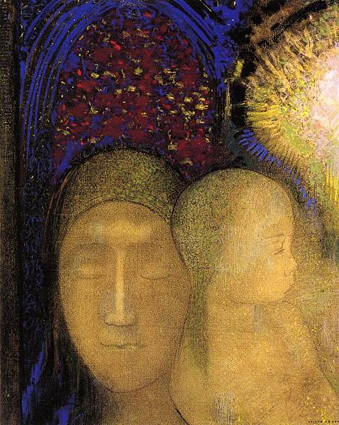 Odilon Redon (1840-1916) Woman and Child against a Stained Glass Background
