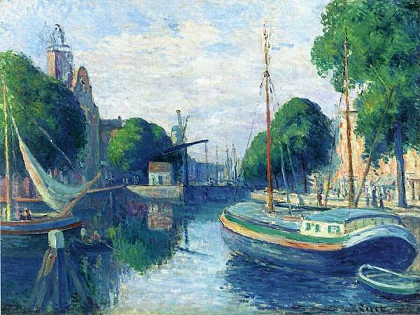 Barges on a Canal at Rotterdam - (Maximilien Luce - 1908)