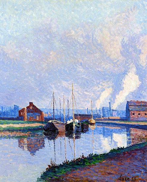 Charleroi, Barges on the Sambre - (Maximilien Luce - 1898)
