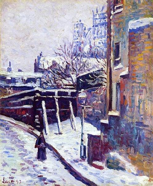 Montmartre, Snow Covered Street - (Maximilien Luce - 1897)
