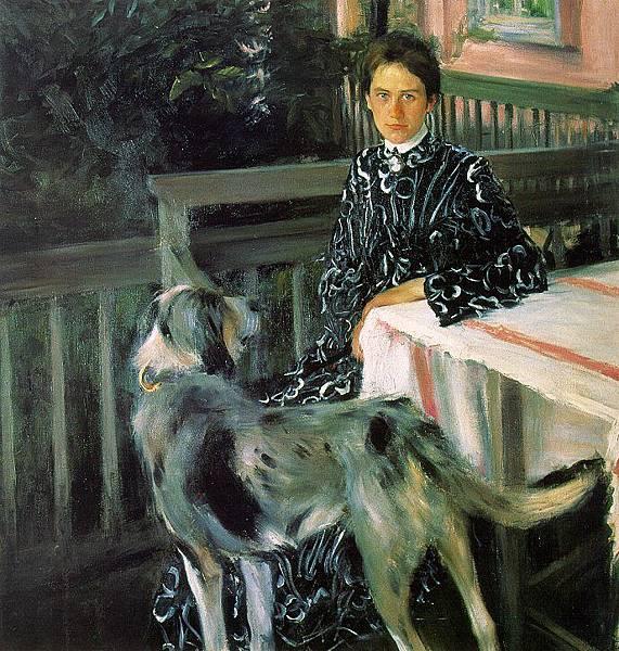 Boris Kustodiev (1878-1927)-Portrait of Julia Kustodieva, the Artist's Wife, 1903