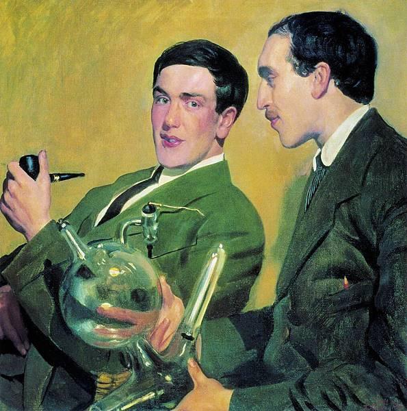 Boris Kustodiev (1878-1927)-KustodiyevSemenov_Kapitsa