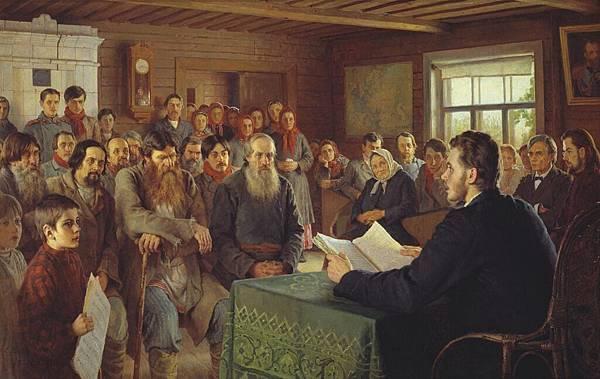 Nikolai Petrovich Bogdanov-Belsky (1868-1945)-Voskresnoye_chteniye_v_selskoy_shkole