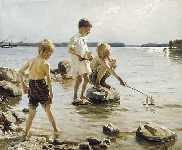 Albert Edelfelt (1854-1905)-Leikkivi%C3%A4_poikia_rannalla