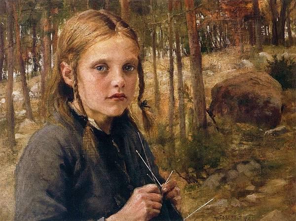 Edelfelt, Albert (1854-1905) - 1886 A Girl Knitting Socks