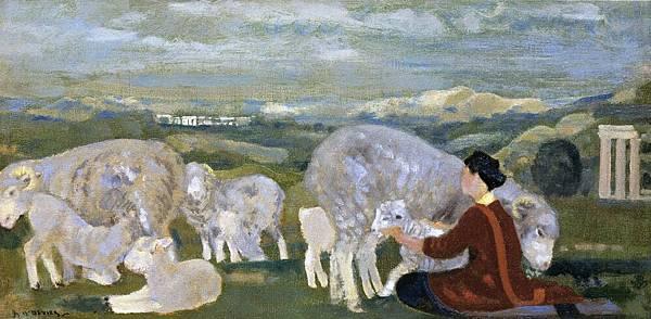 Arthur Bowen Davies (1862-1928) Fleecy Arcady (1912)