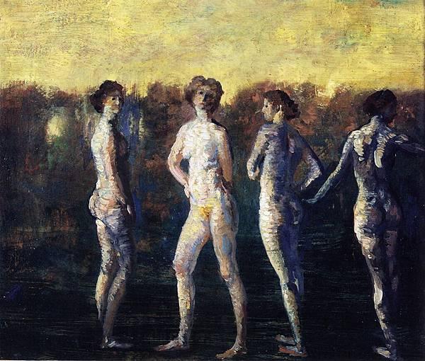 Arthur Bowen Davies (1862-1928) Four Figures (1911)