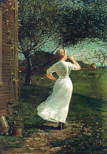 Winslow Homer (1836-1910)-Homer, Winslow   The Dinner Horn, 1870