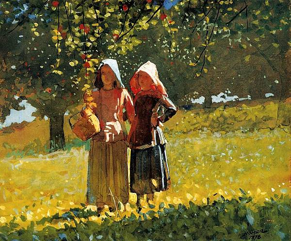 Winslow Homer (1836-1910)-Homer_Winslow_Apple_Picking_aka_Two_Girls_in_sunbonnets_or_in_the_Orchard