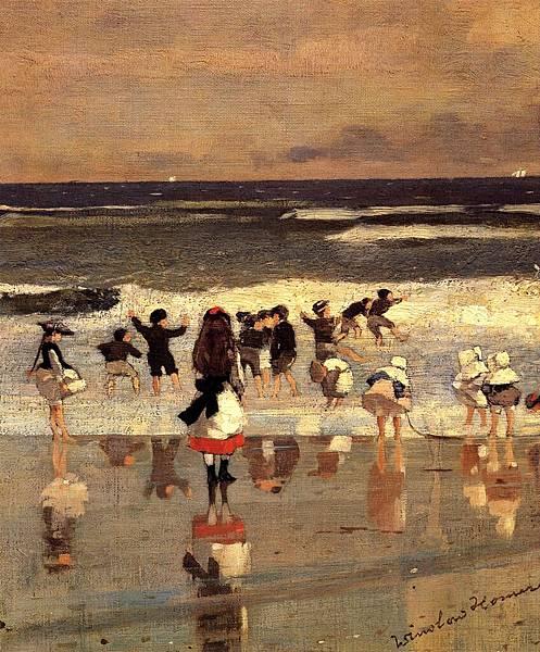 Winslow Homer (1836-1910)-Homer_Winslow_Beach_Scene_aka_Children_in_the_Surf
