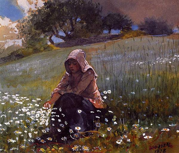 Winslow Homer (1836-1910)-Homer_Winslow_Girl_and_Daisies
