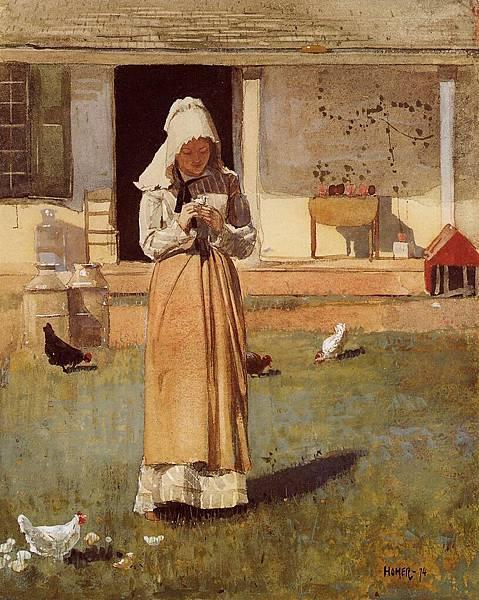 Winslow Homer (1836-1910)-Homer_Winslow_The_Sick_Chicken