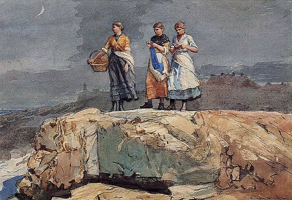 Winslow Homer (1836-1910)-Homer_Winslow_Where_are_the_Boats_aka_On_the_Cliffs-1883