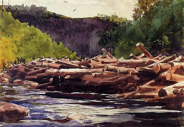 Winslow Homer (1836-1910)-Hudson River at Blue Ledge, Essex County aka The Log Jam - (Winslow Homer - 1889)