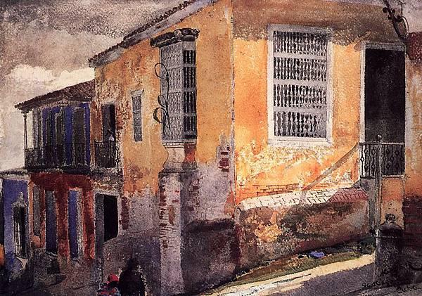 Winslow Homer (1836-1910)-Street Corner, Santiago de Cuba2