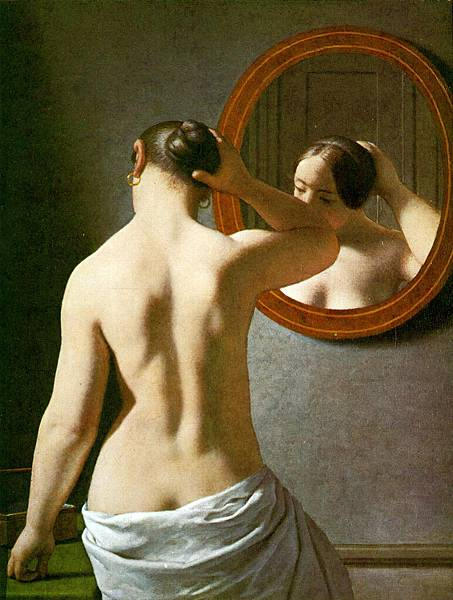 Christoffer Wilhelm Eckersberg (1783-1853)_Woman_Standing_In_Front_Of_A_Mirror