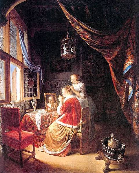 Gerrit Dou (1613-1675)-The Lady at her Dressing-Table