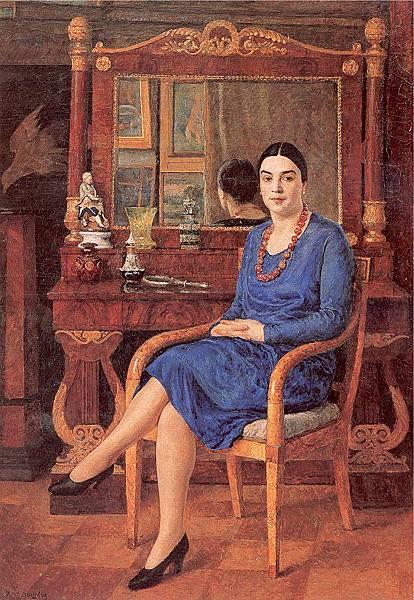 Ilya Mashkov (1881-1944) Portrait of Z. D. R. (Lady in Blue)