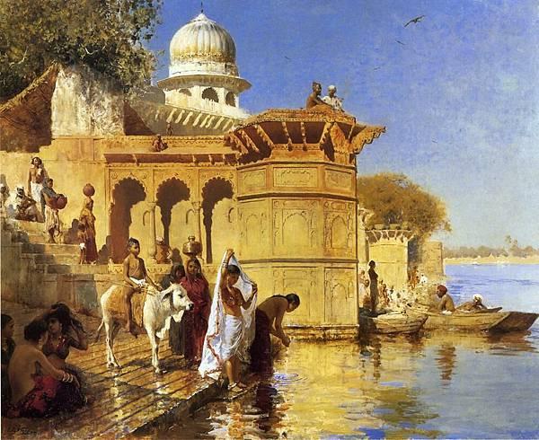 Edwin Lord Weeks (1849-1903) Along the Ghats, Mathura