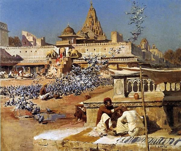 Edwin Lord Weeks (1849-1903) Feeding the Sacred Pigeons, Jaipur - (1894)