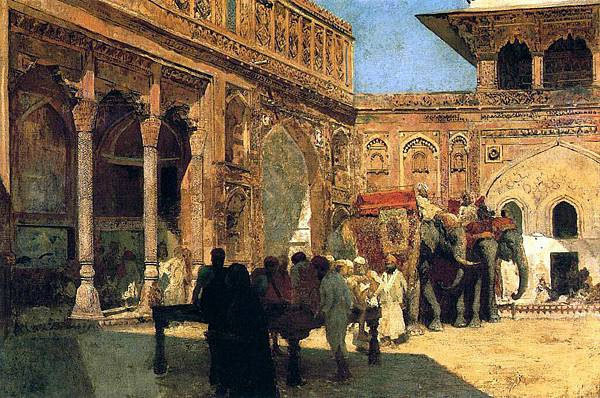 Edwin Lord Weeks (1849-1903) Elephants and Figures in a Courtyard, Fort Agra