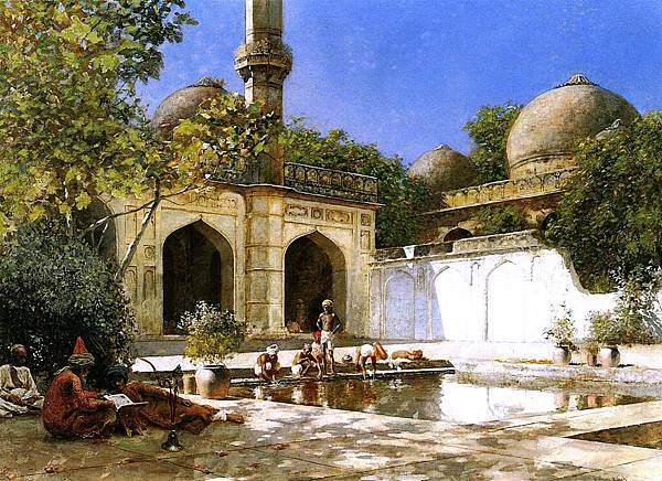 Edwin Lord Weeks (1849-1903) Figures in the Courtyard of a Mosque - circa 1893-1895