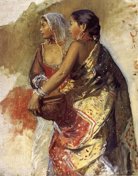 Edwin Lord Weeks (1849-1903) Sketch - Two Nautch Girls