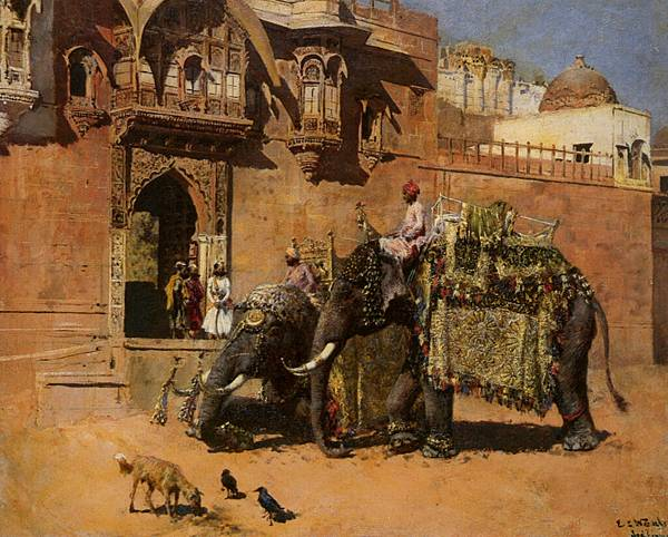 Weeks_Edwin_Lord_Elephants_at_the_Palace_of_Jodhpore_Oil_on_Canvas-huge