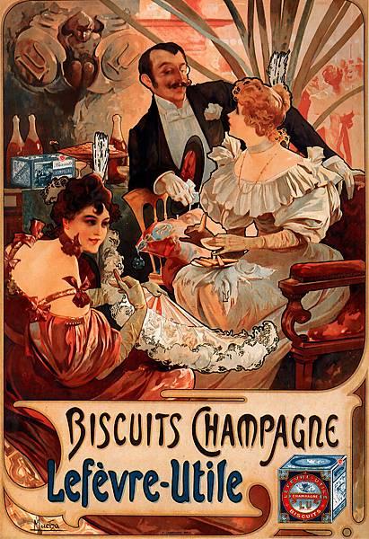 Alphonse Maria Mucha (1860-1939)-Biscuits_Champagne-Lefevre-Utile_1896_35_5x52cm