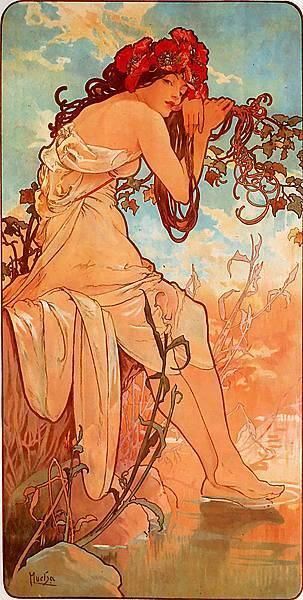 Alphonse Maria Mucha (1860-1939)-Summer_1896_panel