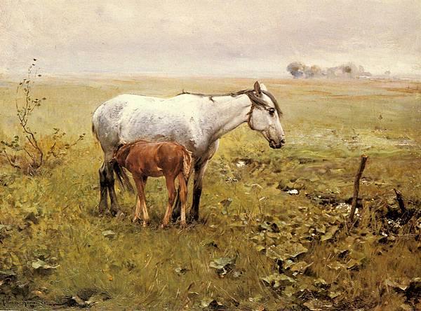 Wierusz_Kowalski_Alfred_Von_A_Mare_And_Her_Foal_In_A_Landscape